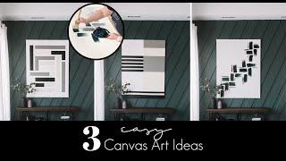 THREE EASY CANVAS ART IDEAS | DIY Acrylic Paintings