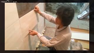 Hướng dẫn thi công : Hướng dẫn thi công: Ốp gạch tường WC 600x300 Chuyên nghiệp