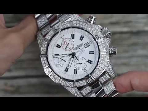 7af3fdb7f5f Men s Diamond Breitling Super Avenger Watch White Dial Model A13370 -  YouTube