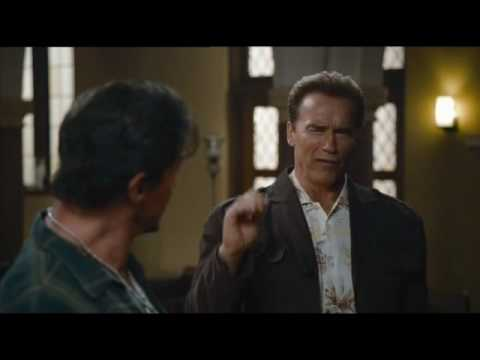 The expendables in the church  arnold and bruce scene