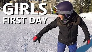 Girls First Day Snowboarding - Beginner Snowboard Tips