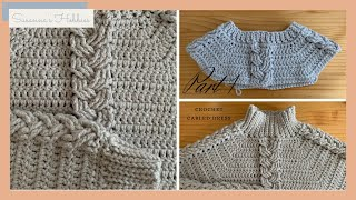 Crochet Easy Dress Tutorial : Top Down Braided Cabled Dress (Both Crew Neck & Turtle Neck) Part 1