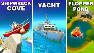 Visit Shipwreck Cove, Yacht and Flopper Pond Fortnite