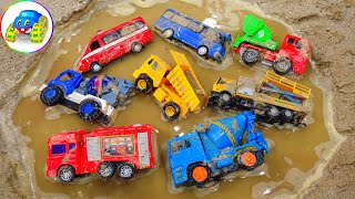 Search dump truck, concrete mixer, fire truck - Learn how to keep toys - Kid Studio