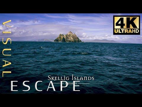 סרטון מרהיב של נופי האי סקליג מייקל באירלנד באיכות 4K
