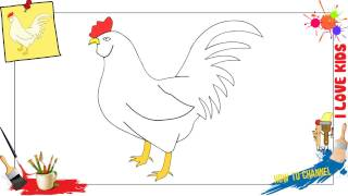 how to draw a chicken easy slowly step by step for kids