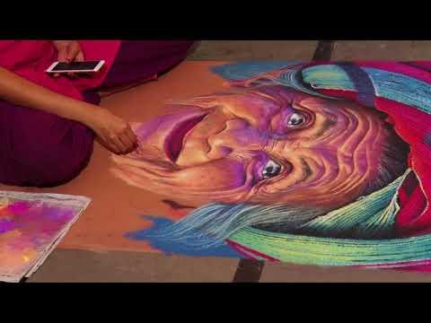 portrait rangoli sand art by dream brush