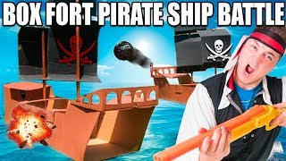 BOX FORT PIRATE SHIP BATTLE! 📦⛵️Nerf War, Box Fort Boat & More!