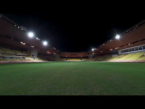 New LED lights at the Louis II Stadium.  Monaco Diamond League