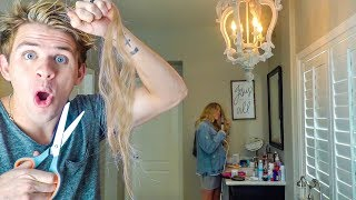 I Cut My Wife's Hair Off Hidden Camera Prank!!! (She got SO mad...)