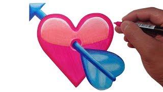 How to Draw the Heart with Arrow Emoji