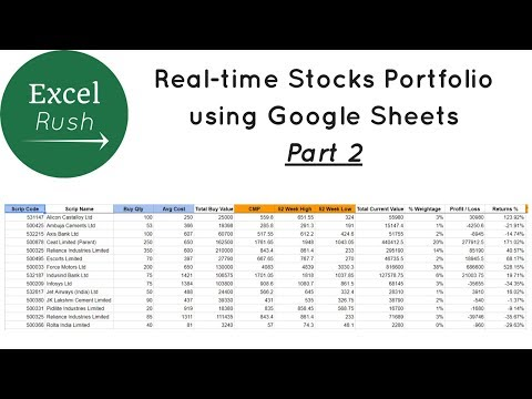 Download Create Real Time Stocks Portfolio In Google Sheets Part 2