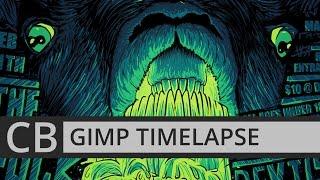 GIMP TIMELAPSE: VALENTINE DENIED! PUNK GIG POSTER