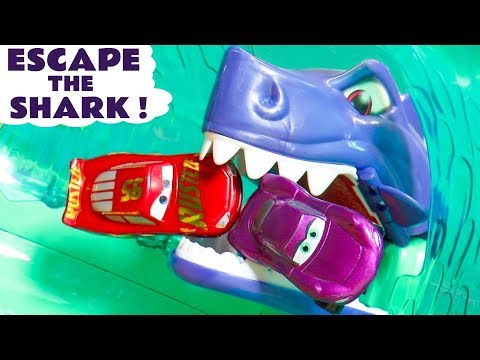 Disney Pixar Cars 3 McQueen In Escape The Shark Race With Hot Wheels Marvel Avengers 4 Superheroes
