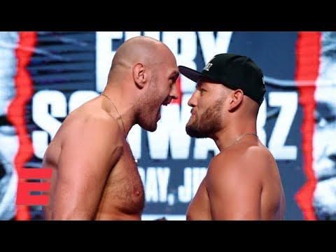 Download Tyson Fury Gets In Tom Schwarz's Face At Pre-fight Weigh-in | Top Rank Boxing HD Mp4 3GP Video and MP3