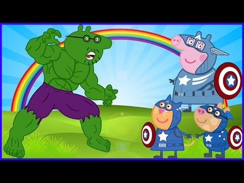 PEPPA PIG VS HULK VS CAPTAIN AMERICA VS IRON MAN VS ANGRY BIRDS NEW DISGUISE