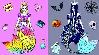 Paper Dolls Dress Up - Mermaid Rapunzel & Sadako Dresses Handmade Quiet Book - Barbie Story & Crafts