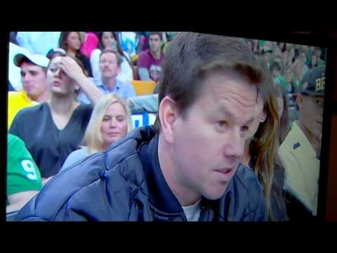 Mark Wahlberg catches ball going out of bounds during live interview at Celtics vs 76ers 12/8/12
