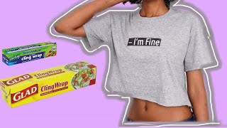 DIY CLOTHES (T-shirt Print Using Plastic Food Wrap??)