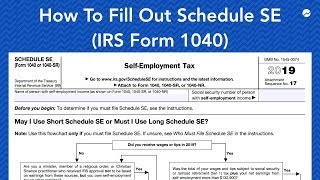 How to Fill out Schedule SE (IRS Form 1040)