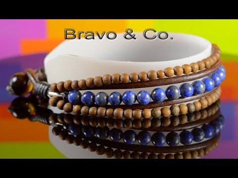CUSTOM MADE Lapis lazuli, Wood, Tiger's Eye Leather Armband Men Bracelet 5B-473