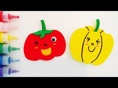 Learn Fruits Vegetables coloring and drawing Learn Colors for kids and Toddlers  |Foam kids art