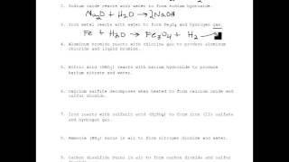 Practice Writing Chemical Equations From Word Equations