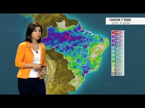 Como fica a chuva no Brasil entre os dias 22 a 28/01/19