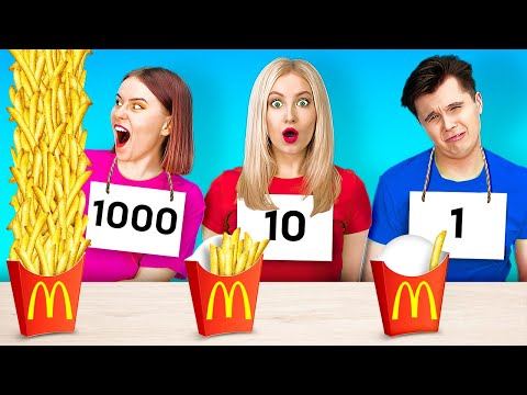 100 LAYERS FOOD CHALLENGE FOR REAL FOODIES! || 100 Yummy French Fries by 123 Go! GENIUS