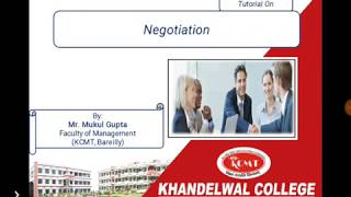 Hindi Tutorial on Negotiation's Concept, Features and Process by Mr. Mukul Gupta for MBA HR Students