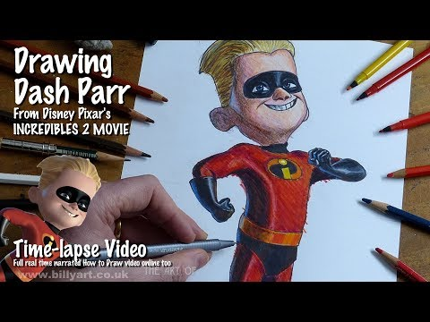 Drawing Dash Parr From Incredibles 2 Voiced By Huck Milner Time-lapse