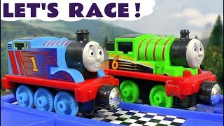 Thomas and Friends Great Race with Toy Trains play for Kids - Minions Play Doh & Thomas Minis TT4U