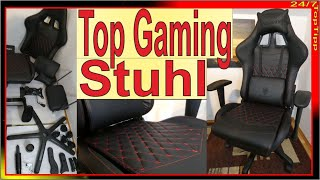 Dowinx Gamer Stuhl ✔ Unboxing Aufbau Sitzprobe [ Carbon Optik & rote Ziernähte ] Gaming Stuhl Review