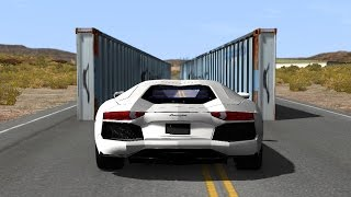 BeamNG drive - Narrowing Walls Car Crashes