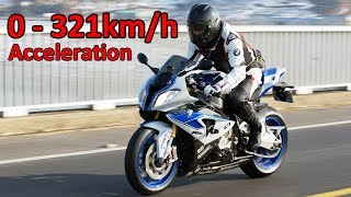 BMW S1000RR - Acceleration 0-321km/h & Startup & Exhaust Sound & Burnout & Wheelie & TOP Speed