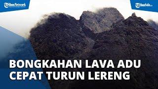 Momen Bongkahan Lava Gunung Merapi Berguguran, Adu Cepat Turuni Lereng