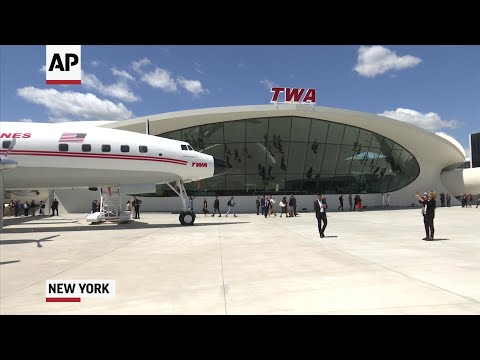 The famous winged TWA terminal at New York's John F. Kennedy Airport came out of its decades-long retirement Wednesday with a new life as a luxury hotel. (May 15)