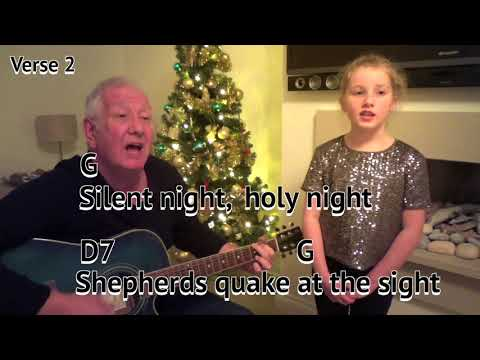 Silent Night - Christmas carol - easy chord guitar lesson with on-screen chords and lyrics