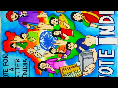 How to draw and paint vote for better India  / drawing on vote India for competition/electionDrawing