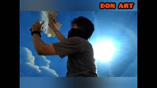 how to quickly make a picture of a cloud on the roof lukisan motif awan di atap plafon