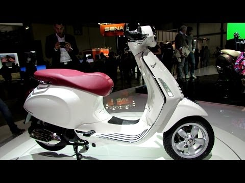 2014 Vespa Primavera 150 4T 3V White Colour Scooter Walkaround - 2013 EICMA Milano Motorcycle Exhibi