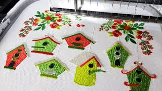 Christmas Birdhouses Machine Embroidery Designs By Royal Present Embroidery