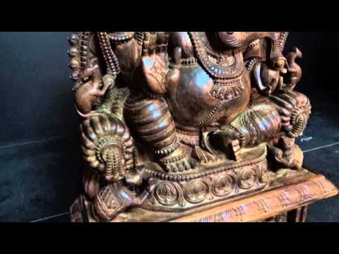 SOLD Wooden Ganesh Statue with Gaja Lakshmi 50