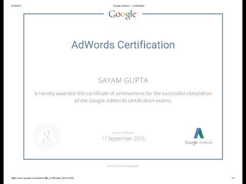 Google AdWords Display Advertising Advanced Exam ... - YouTube