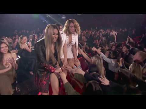 Fifth Harmony accepting the Best Fan Army award at the iHeartRadio Music Awards