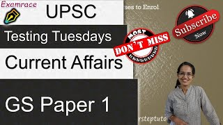 Current Affairs -CSE UPSC IAS Prelims GS Paper 1: Practice Questions 2021 (Testing Tuesdays) NTA NET