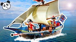 PLAYMOBIL deutsch Piraten - Rotrock Kanonensegler Spielzeug - ausgepackt und angespielt Pandido TV