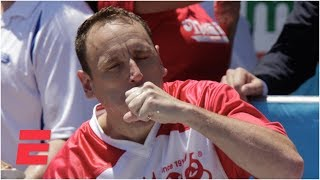 Joey Chestnut eats 71 hot dogs to win Nathan's Hot Dog Eating Contest for 12th time   ESPN