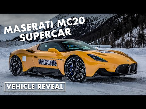 Maserati MC20 supercar plays in the snow
