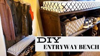 DIY Farmhouse Style Entryway Shoe Bench
